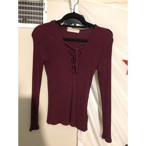 Tops - Lace up maroon long sleeve